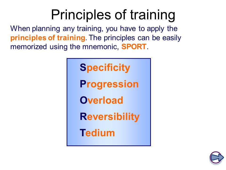 Principles of training When planning any training, you have to apply the principles of training.