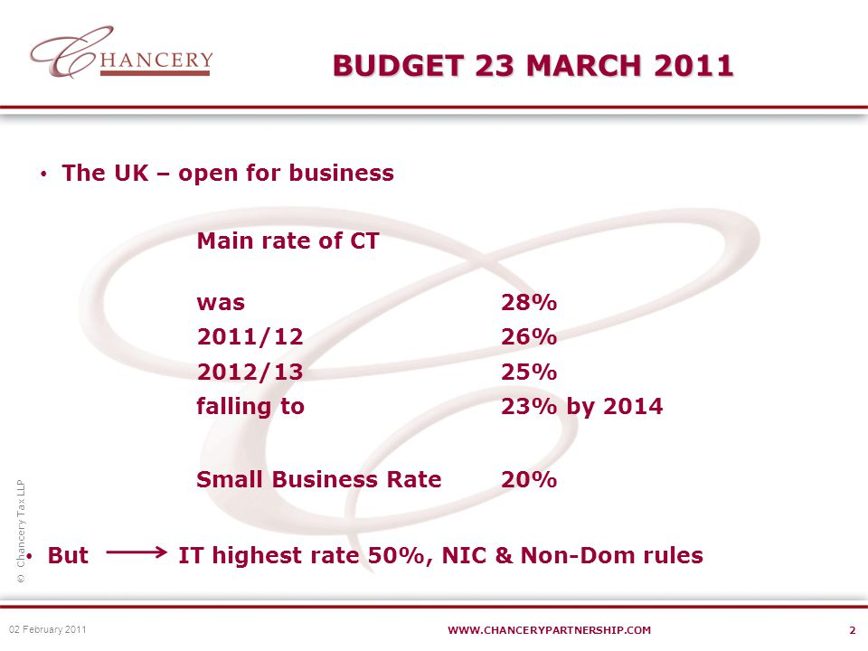  Chancery Tax LLP WWW.CHANCERYPARTNERSHIP.COM3 BUDGET 23 MARCH 2011 OTS – Review of small business tax Recommendations for Budget 2012 Business Rates Relief – extended 1 more year Entrepreneurs Relief £1,000,000pre 6 April 2010 £2,000,0006 April 2010 - 26 June 2010 £5,000,00026 June 2010 – 5 April 2011 £10,000,0006 April 2011 onwards