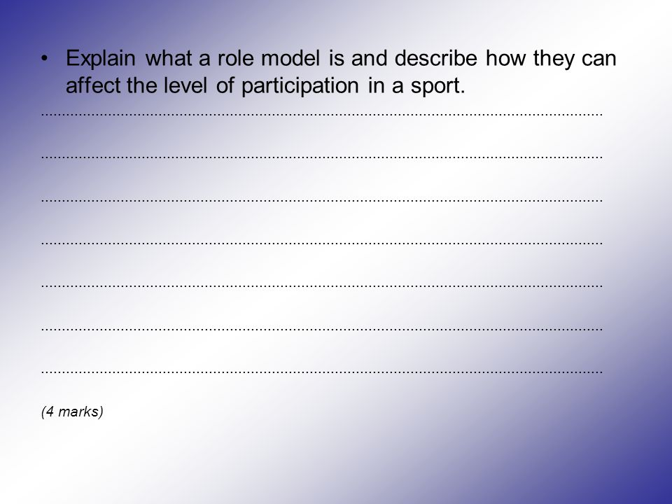 Explain what a role model is and describe how they can affect the level of participation in a sport.......................................................................................................................................