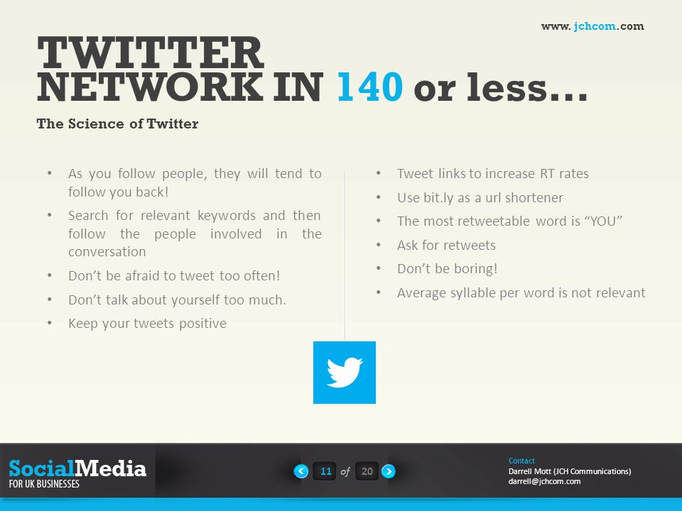 TWITTER NETWORK IN 140 or less… The Science of Twitter As you follow people, they will tend to follow you back.