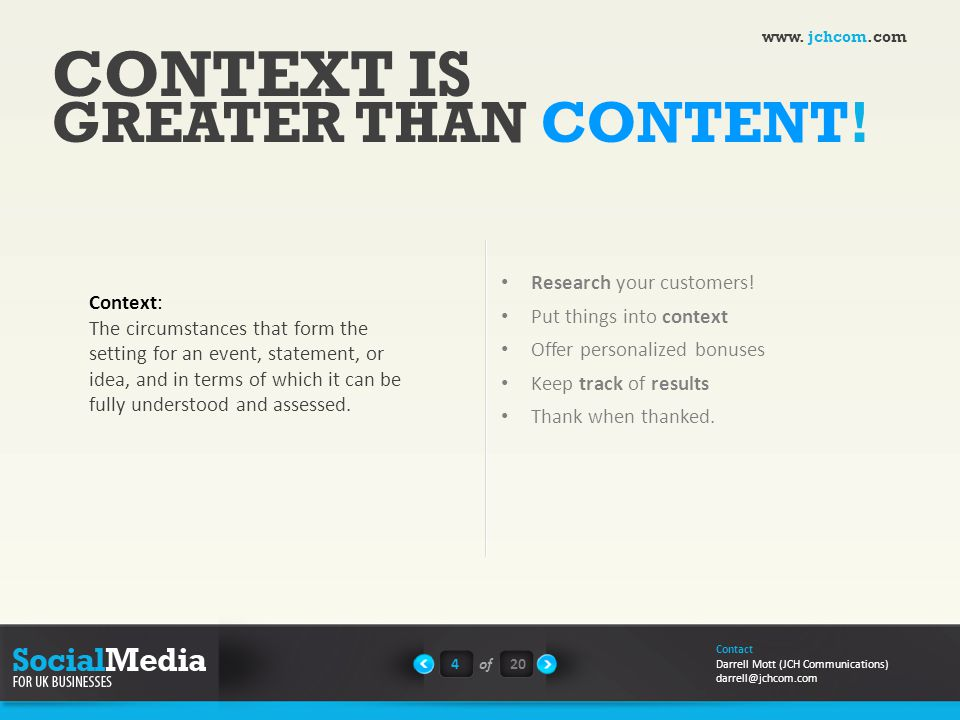 CONTEXT IS GREATER THAN CONTENT. Research your customers.