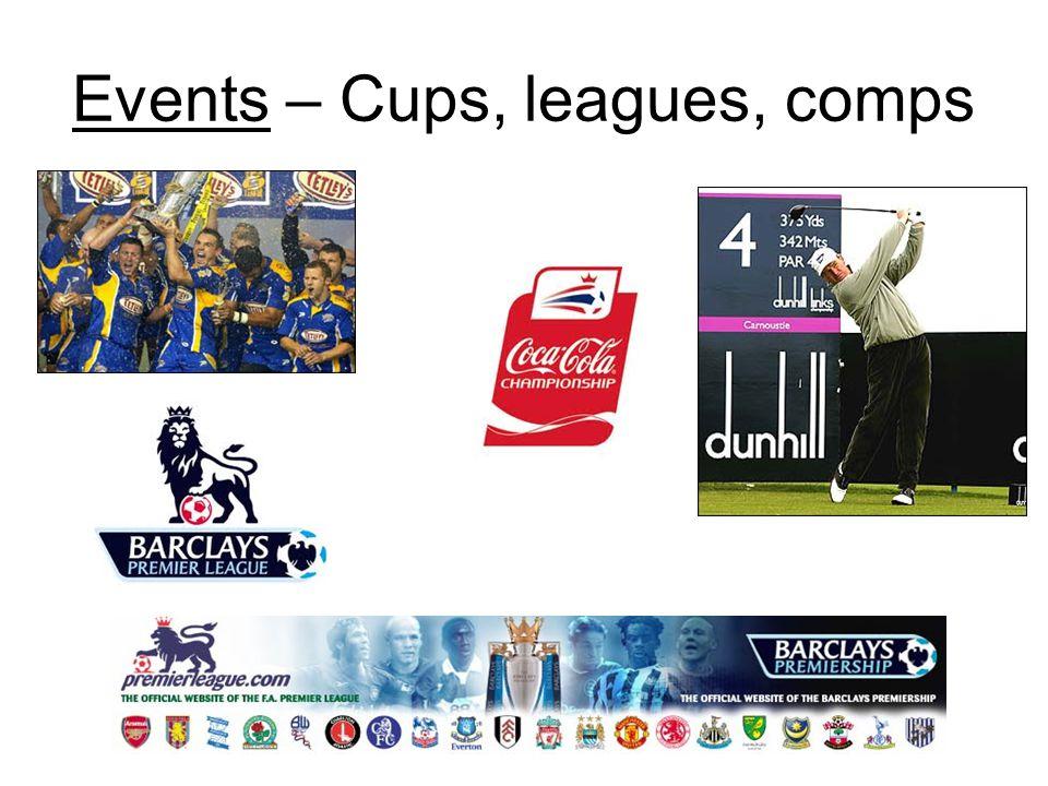 Events – Cups, leagues, comps
