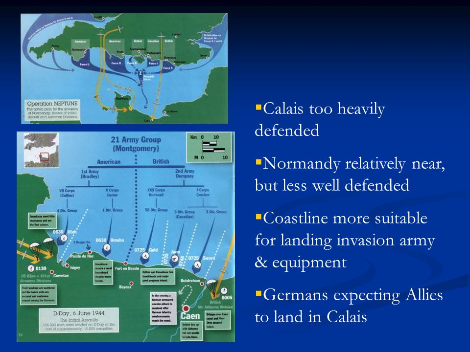  Calais too heavily defended  Normandy relatively near, but less well defended  Coastline more suitable for landing invasion army & equipment  Germans expecting Allies to land in Calais
