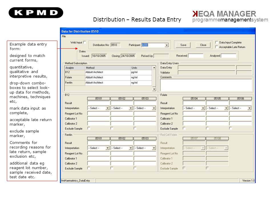 Distribution – Results Data Entry programmemanagementsystem Example data entry form: designed to match current forms, quantitative, qualitative and in