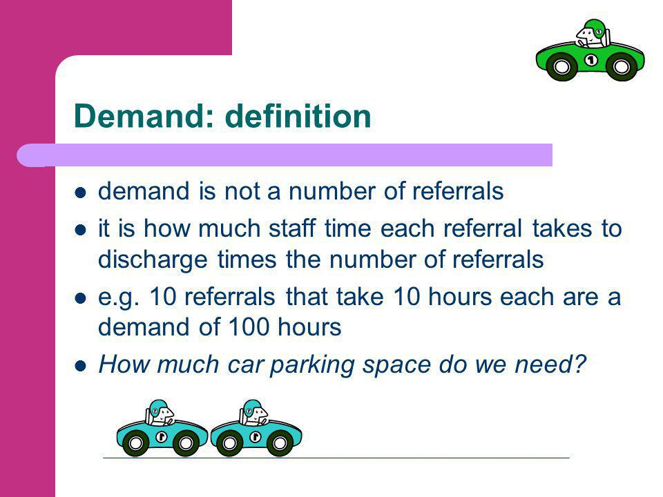 Capacity: definition again capacity is not a number like 3 staff but a number of units of time that can be delivered e.g.
