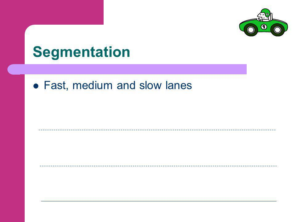 Segmentation Fast, medium and slow lanes