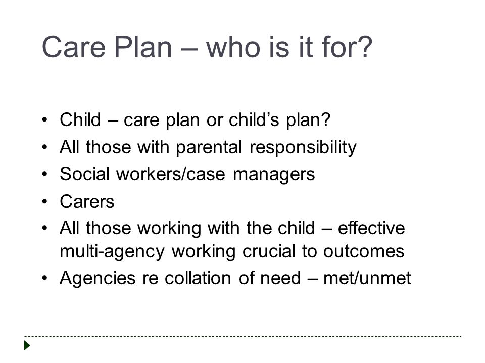 Care Plan – who is it for.Child – care plan or child's plan.