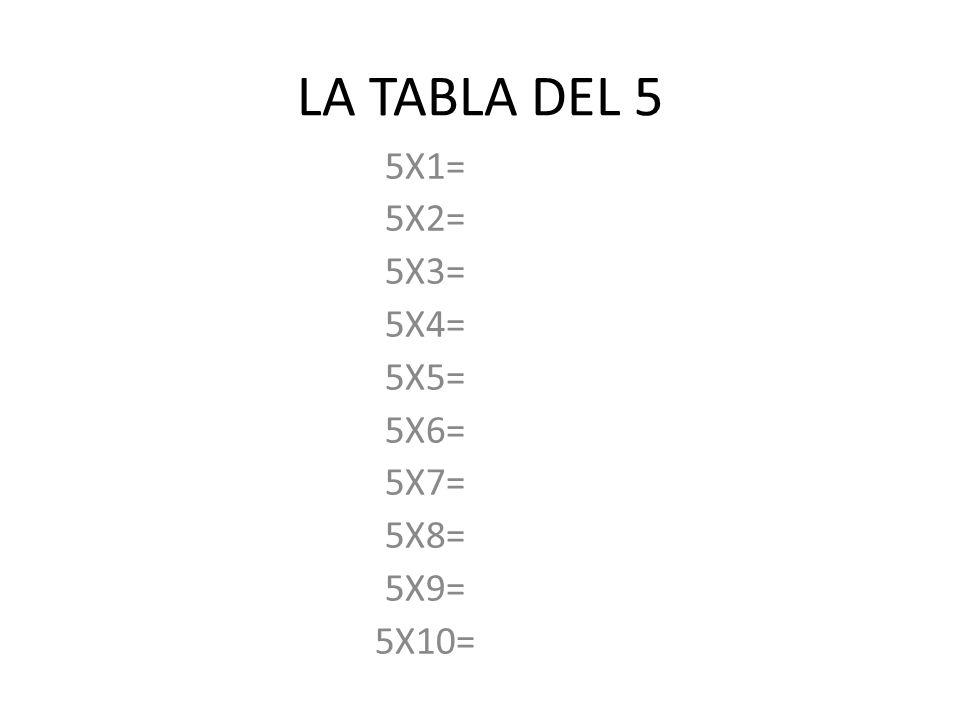 LA TABLA DEL 5 5X1= 5X2= 5X3= 5X4= 5X5= 5X6= 5X7= 5X8= 5X9= 5X10=