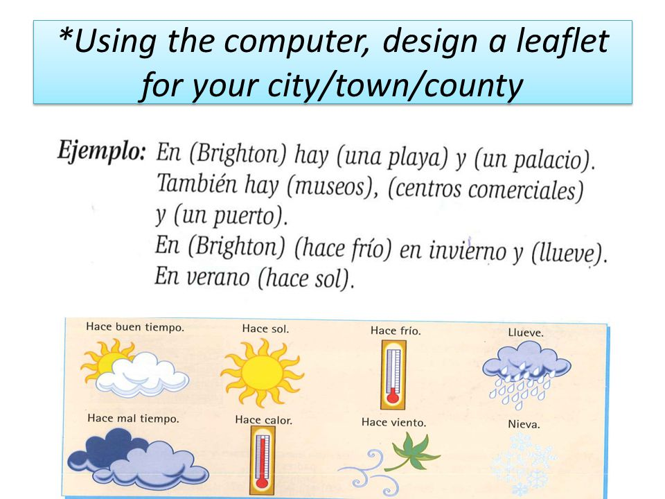 *Using the computer, design a leaflet for your city/town/county