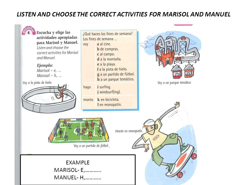 LISTEN AND CHOOSE THE CORRECT ACTIVITIES FOR MARISOL AND MANUEL EXAMPLE MARISOL- E,………..