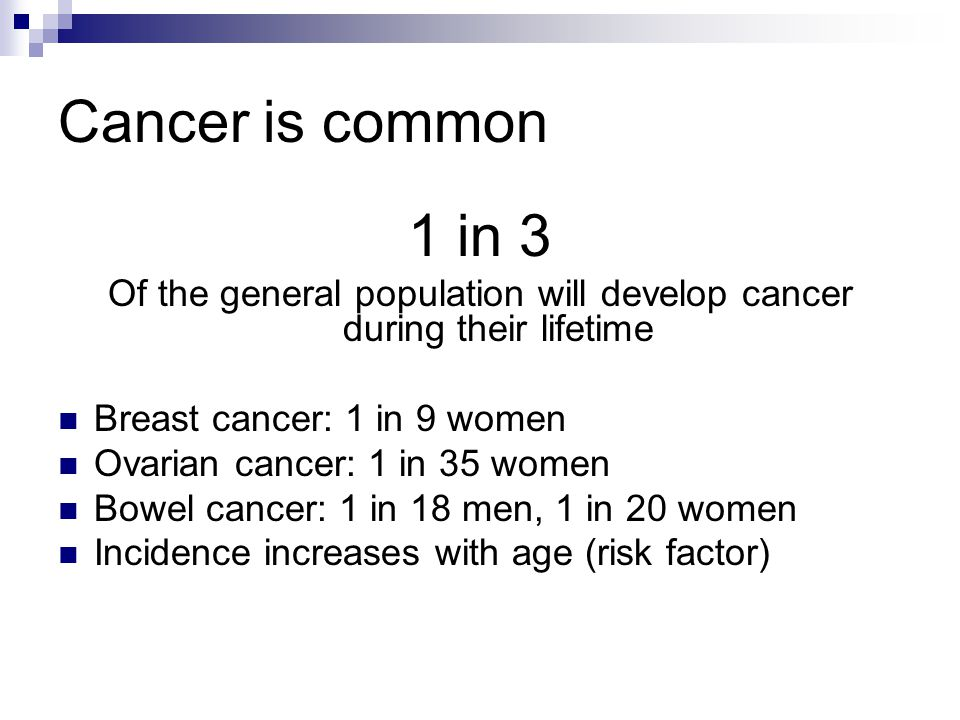 Cancer is common 1 in 3 Of the general population will develop cancer during their lifetime Breast cancer: 1 in 9 women Ovarian cancer: 1 in 35 women