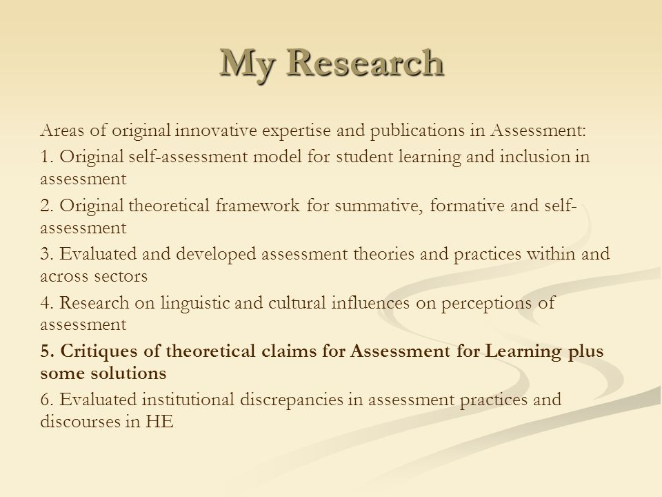My aim: to make you think and challenge your ideas Discuss solutions to problems of theory in Assessment for Learning