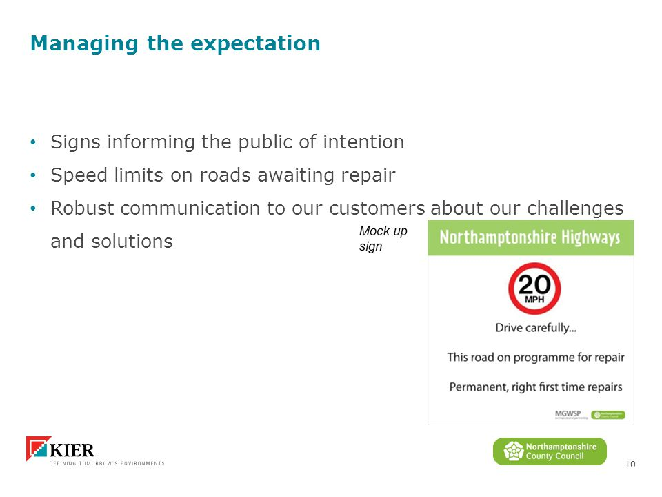10 Managing the expectation Signs informing the public of intention Speed limits on roads awaiting repair Robust communication to our customers about our challenges and solutions