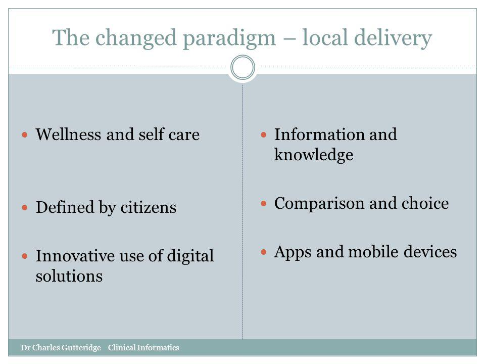 The changed paradigm – local delivery Dr Charles Gutteridge Clinical Informatics Wellness and self care Defined by citizens Innovative use of digital