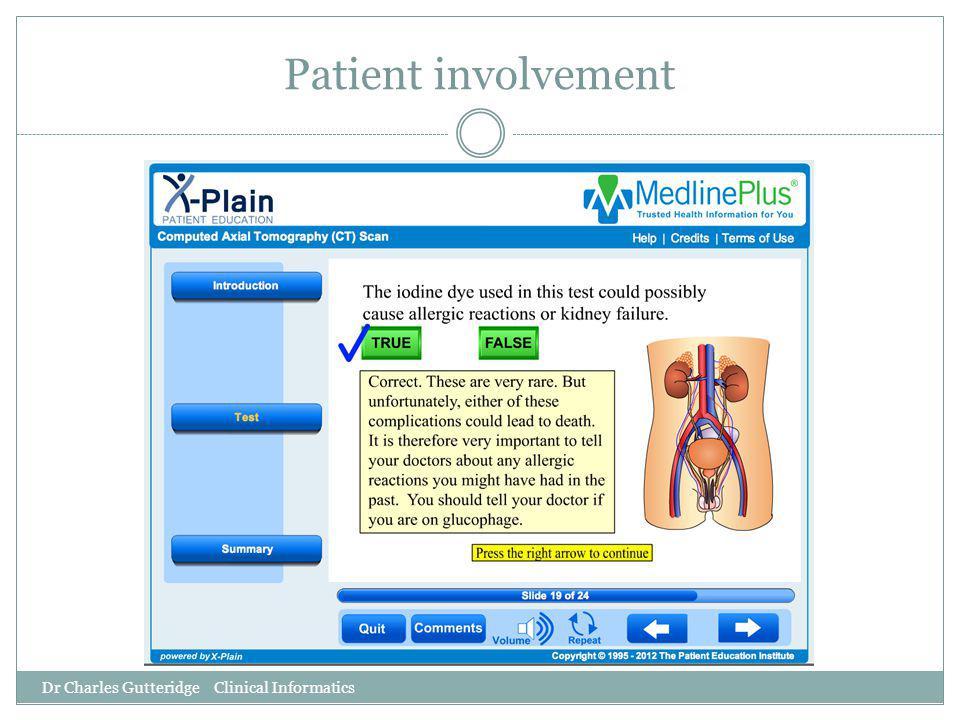 Patient involvement Dr Charles Gutteridge Clinical Informatics