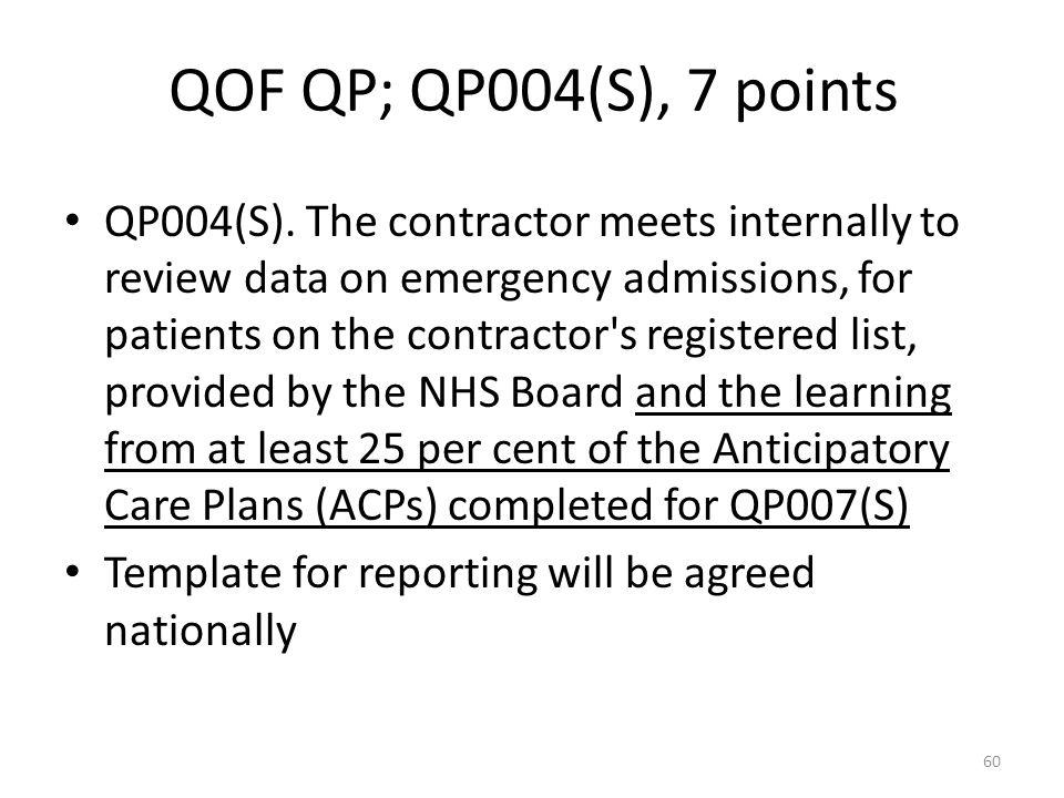 QOF QP; QP004(S), 7 points QP004(S).