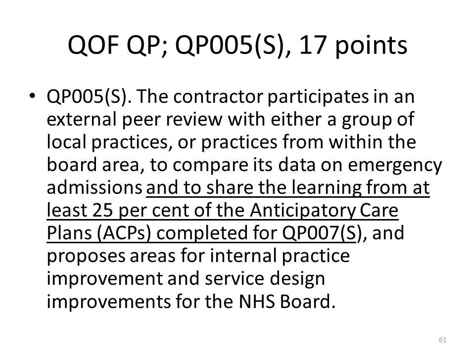 QOF QP; QP005(S), 17 points QP005(S).
