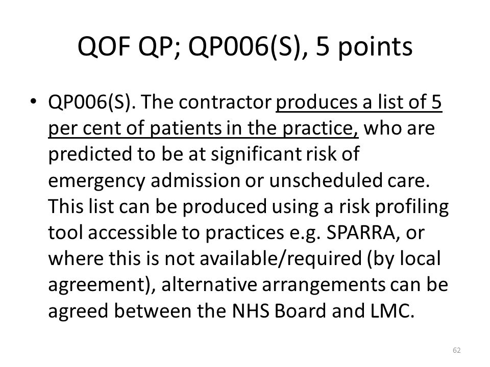 QOF QP; QP006(S), 5 points QP006(S). The contractor produces a list of 5 per cent of patients in the practice, who are predicted to be at significant