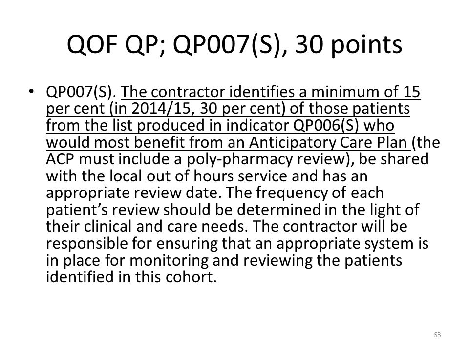 QOF QP; QP007(S), 30 points QP007(S). The contractor identifies a minimum of 15 per cent (in 2014/15, 30 per cent) of those patients from the list pro