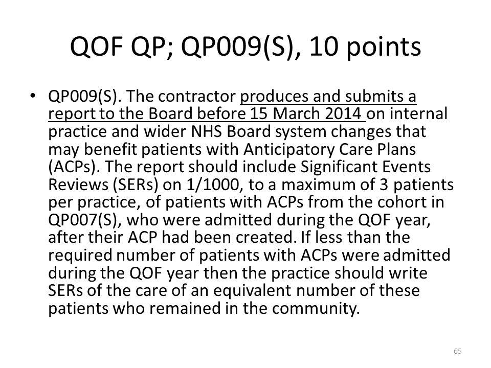 QOF QP; QP009(S), 10 points QP009(S).