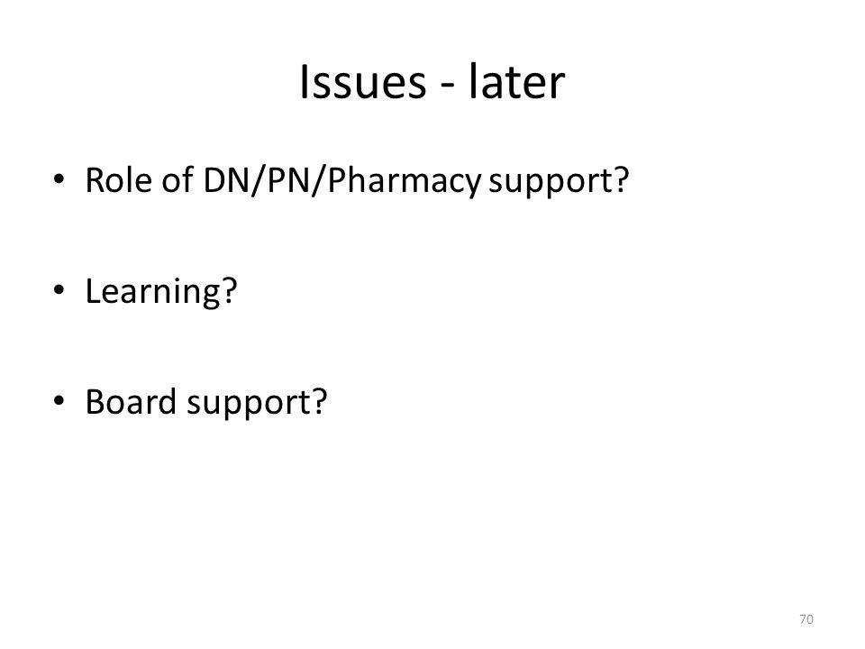 Issues - later Role of DN/PN/Pharmacy support Learning Board support 70