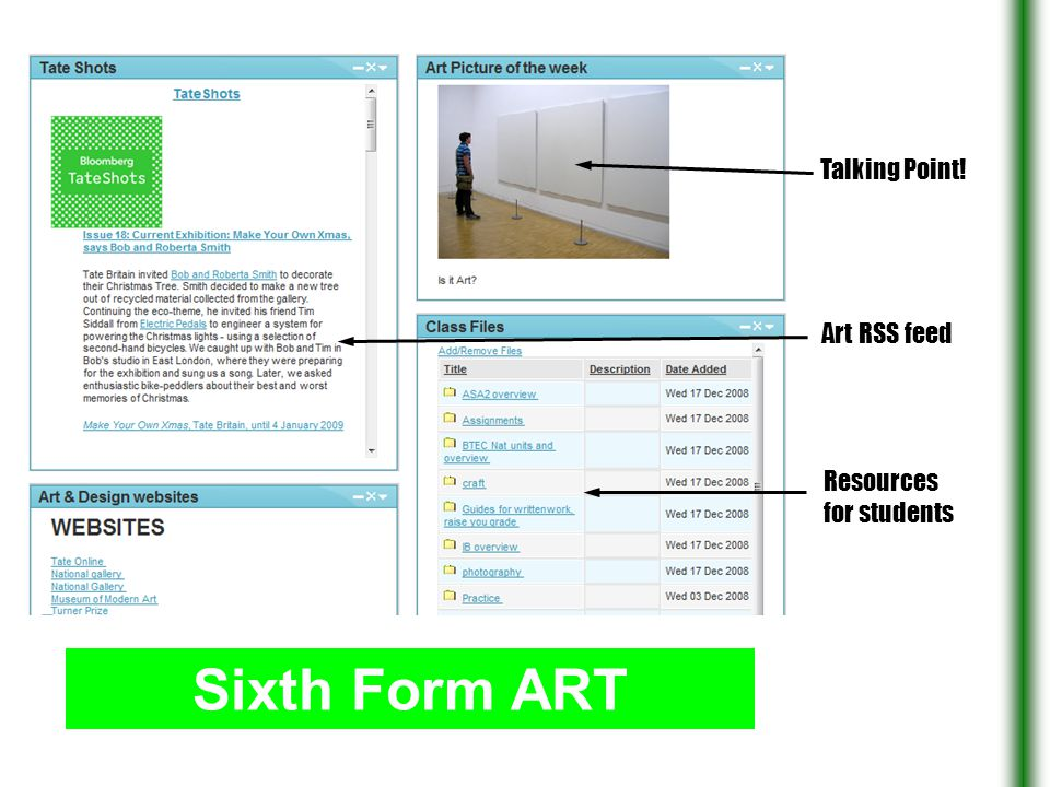 Sixth Form ART Talking Point! Art RSS feed Resources for students