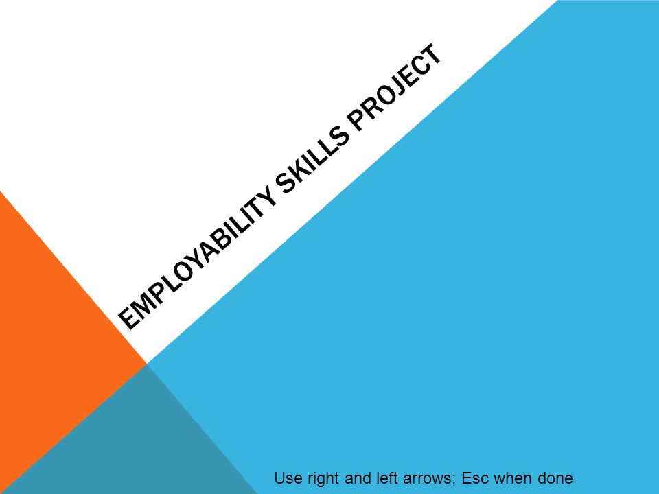 EMPLOYABILITY SKILLS PROJECT Use right and left arrows; Esc when done