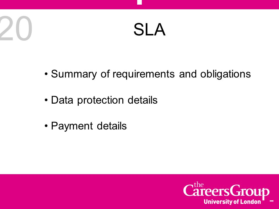 20 SLA Summary of requirements and obligations Data protection details Payment details
