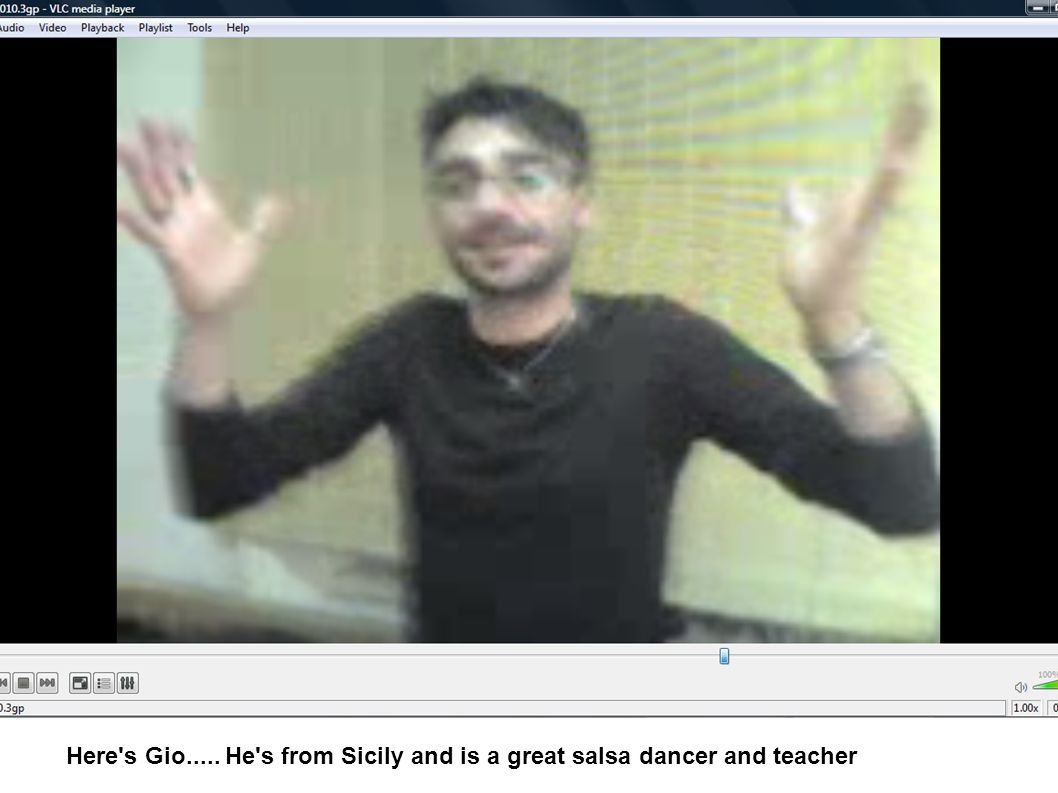 Here s Gio..... He s from Sicily and is a great salsa dancer and teacher