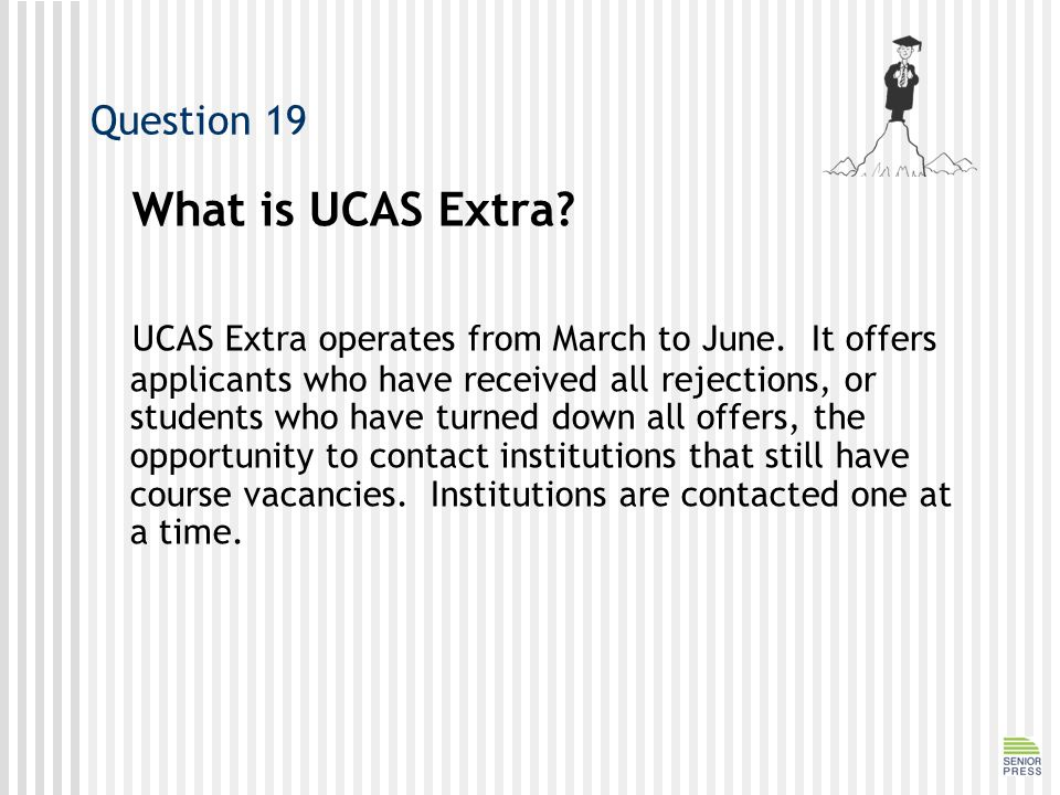 Question 19 What is UCAS Extra.UCAS Extra operates from March to June.