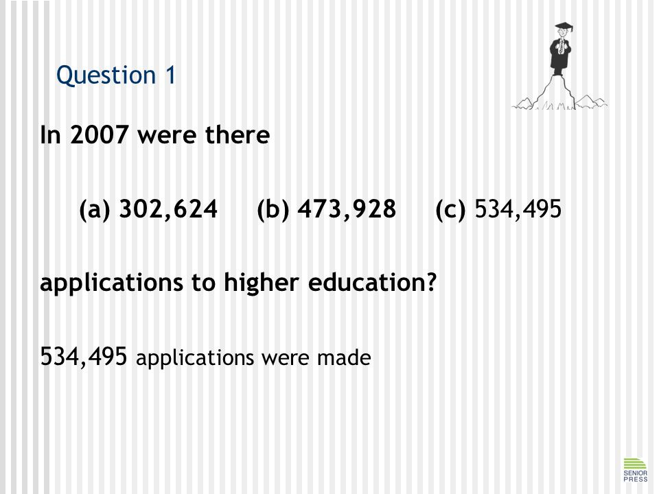 Question 1 In 2007 were there (a) 302,624 (b) 473,928 (c) 534,495 applications to higher education.