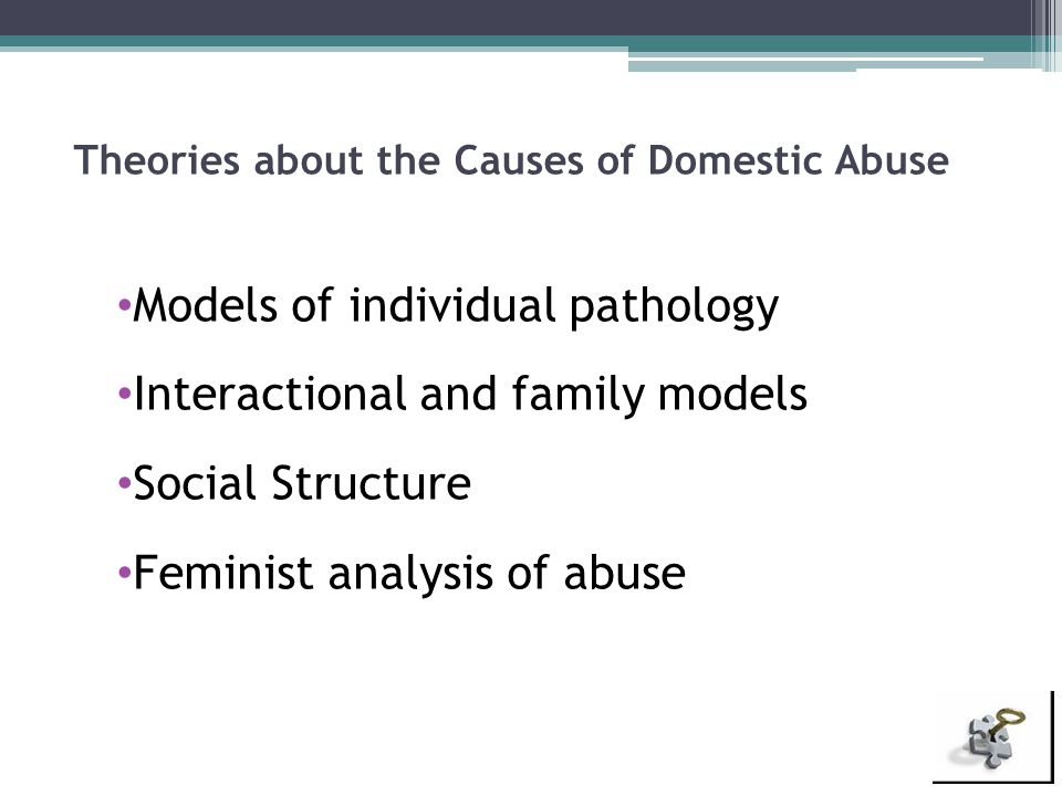 Theories about the Causes of Domestic Abuse Models of individual pathology Interactional and family models Social Structure Feminist analysis of abuse