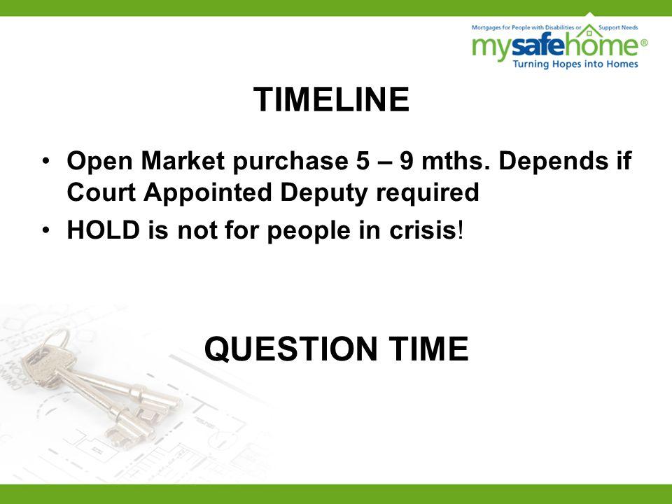 TIMELINE Open Market purchase 5 – 9 mths.