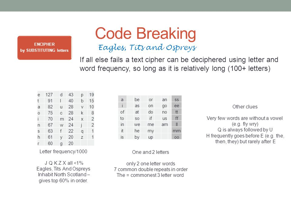 Code Breaking ENCIPHER by SUBSTITUTING letters Eagles, Tits and Ospreys If all else fails a text cipher can be deciphered using letter and word frequency, so long as it is relatively long (100+ letters) e127 d43 p19 t91l40b15 a82u28v10 o75c28k8 i70m24x2 n67w24j2 s63f22q1 h61y20z1 r60 g20 Letter frequency/1000 J Q K Z X all <1% Eagles, Tits And Ospreys Inhabit North Scotland – gives top 60% in order.