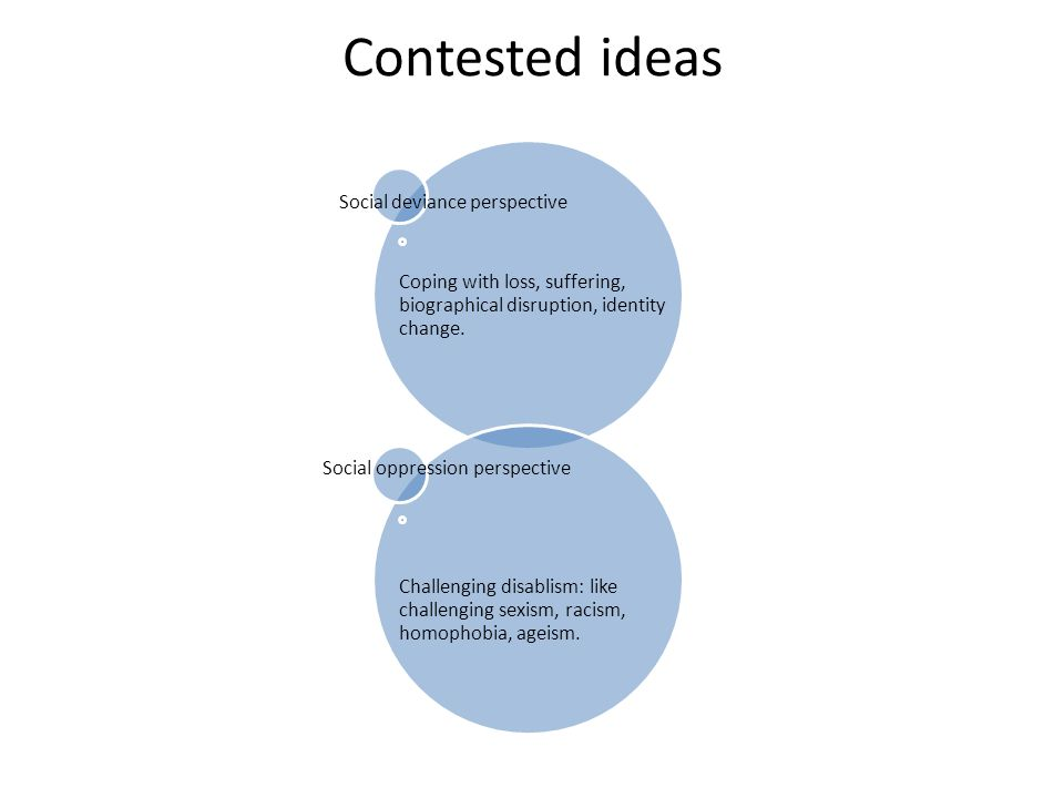 Contested ideas Social deviance perspective Coping with loss, suffering, biographical disruption, identity change. Social oppression perspective Chall