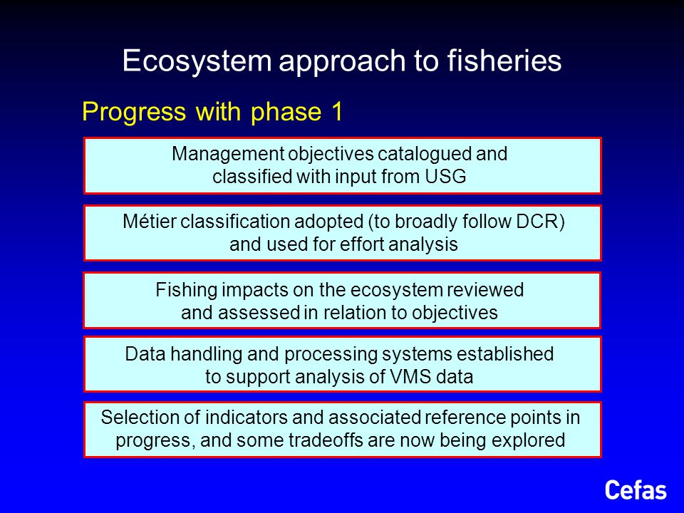 Link changes in state to changes in pressure for biodiversity, fish communities and habitat Evaluate the strengths and weaknesses of the proposed management system Assess contribution of each métier to total impact and identify alternate actions to meet target for total impact Ecosystem approach to fisheries Project objectives (phase 2a: 2009 to 2012)