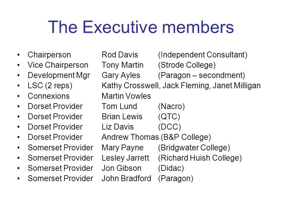 The Executive members ChairpersonRod Davis (Independent Consultant) Vice ChairpersonTony Martin(Strode College) Development MgrGary Ayles(Paragon – se