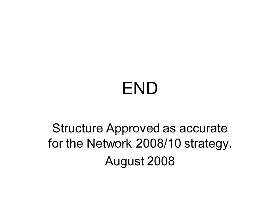 END Structure Approved as accurate for the Network 2008/10 strategy. August 2008