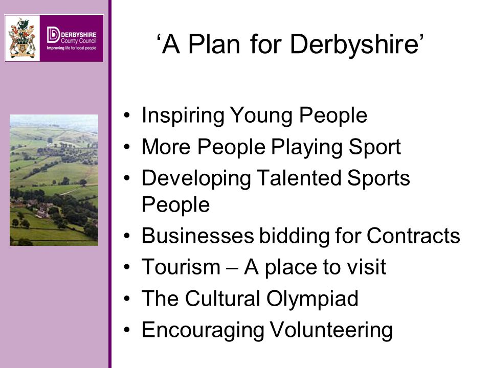 Inspiring Young People To connect the young people of Derbyshire with The Games and to explore how this can be achieved across the whole curriculum in schools and more broadly in the community