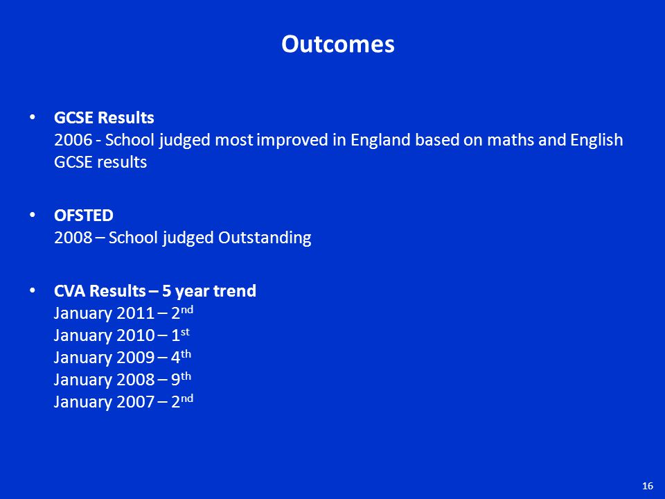 GCSE Results 2006 - School judged most improved in England based on maths and English GCSE results OFSTED 2008 – School judged Outstanding CVA Results – 5 year trend January 2011 – 2 nd January 2010 – 1 st January 2009 – 4 th January 2008 – 9 th January 2007 – 2 nd Outcomes 16