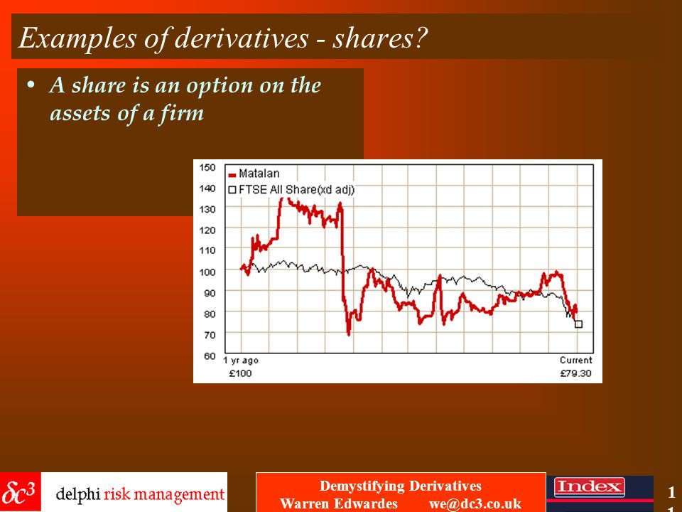 Demystifying Derivatives Warren Edwardes we@dc3.co.uk 10 Examples of derivatives - commodities property / real estate .
