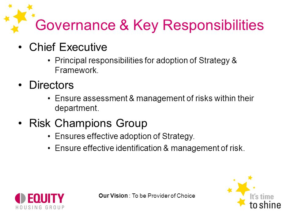 Governance & Key Responsibilities Our Vision : To be Provider of Choice Chief Executive Principal responsibilities for adoption of Strategy & Framework.