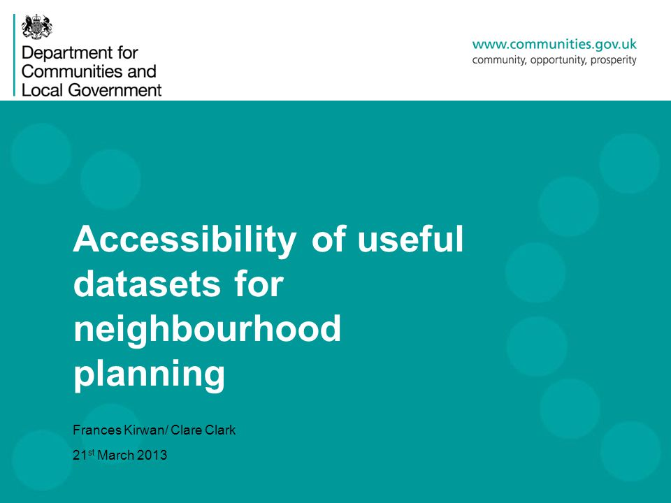 Background A survey of Neighbourhood Planning frontrunners by Locality, on behalf of the Panel, generated a list of data which those already involved in neighbourhood planning had found useful.