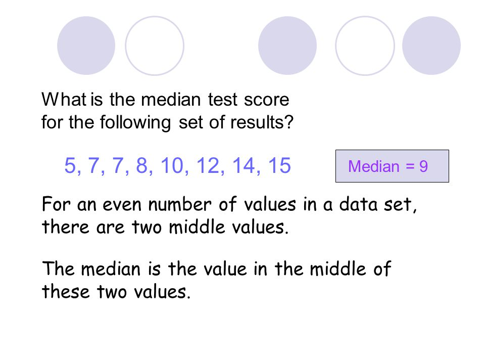 The Median The median is another type of average The median is the middle value for a set of data when the values are put in numerical order. Example