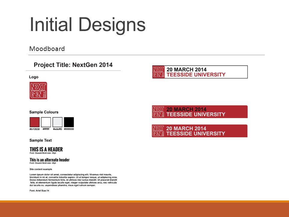 Initial Designs Moodboard