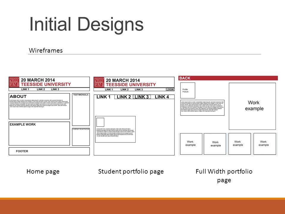 Initial Designs Mobile Design HomeStudent Portfolios Student Portfolio Navigation