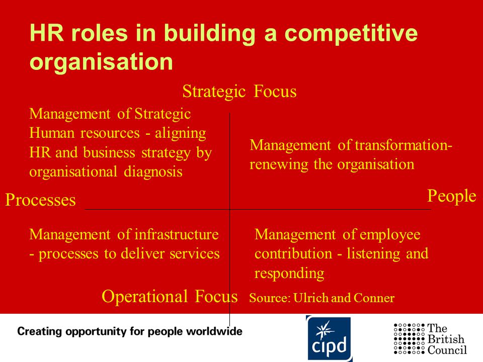HR roles in building a competitive organisation Management of Strategic Human resources - aligning HR and business strategy by organisational diagnosi