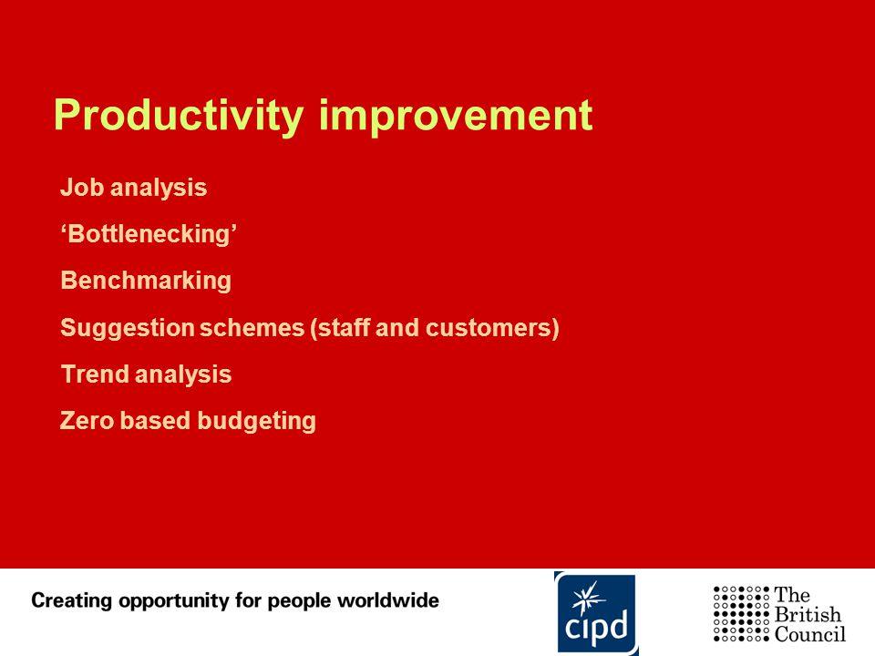Productivity improvement Job analysis 'Bottlenecking' Benchmarking Suggestion schemes (staff and customers) Trend analysis Zero based budgeting