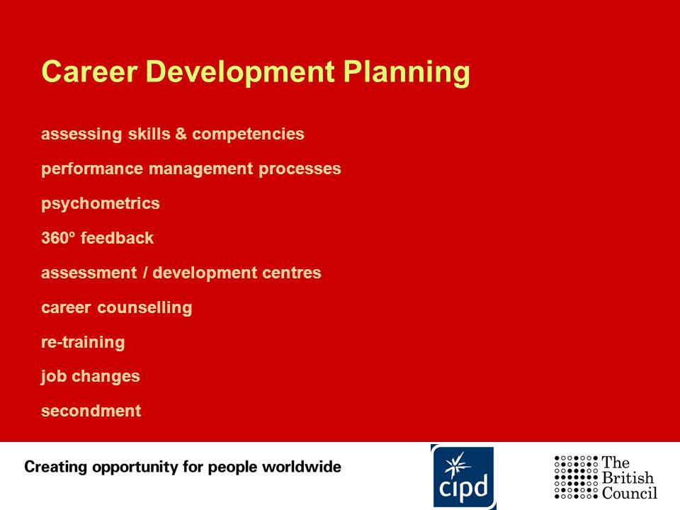 Career Development Planning assessing skills & competencies performance management processes psychometrics 360° feedback assessment / development cent