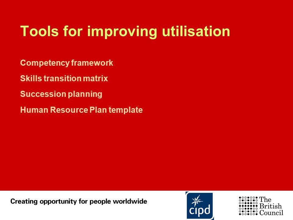 Tools for improving utilisation Competency framework Skills transition matrix Succession planning Human Resource Plan template